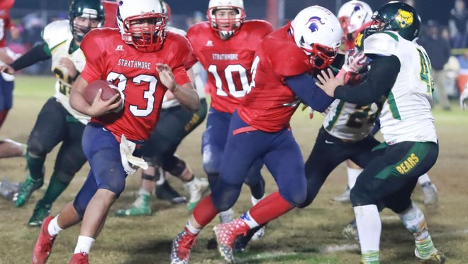 Strathmore's Joseph Garcia (33) and the Spartans (13-0) will host the Horizon Christian Academy Panthers (7-6) on Saturday in the CIF Regional South Division 6-A Championship Bowl Game.