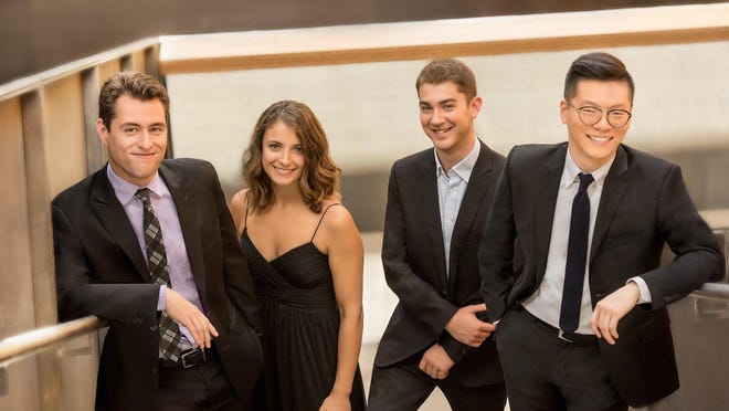 The members of the Dover Quartet met as students at the Curtis Institute of Music. The group -- Joel Link, violin; Milena Pajaro-van de Stadt, viola; Camden Shaw, cello; and Bryan Lee, violin -- will join the Escher String Quartet to perform Felix Mendelssohn's and George Enescu's octets during a Chamber Music Society of Palm Beach concert Wednesday at the Norton Museum.