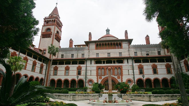 The garden and courtyard area of the former Ponce DeLeon Hotel on the campus of Flagler College in St. Augustine, seen here June 29, 2005, is one of the stops for tours of the grand building and grounds.