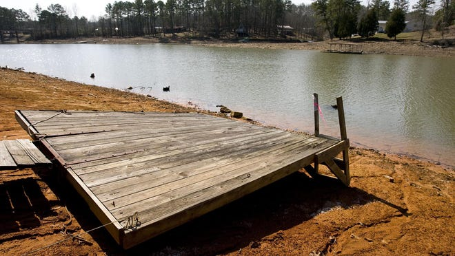 A pier is seen on the bank at Smith Lake in this photo taken Thursday, Feb. 28, 2008 near the town of Double Springs, Al on US Hwy 278.