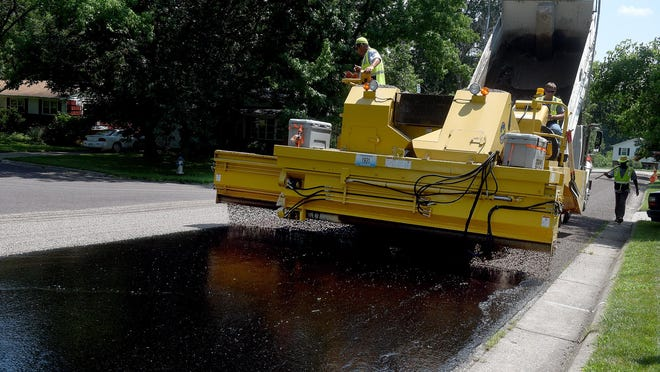 Chip seal work Wednesday on Concordia Drive Wednesday.