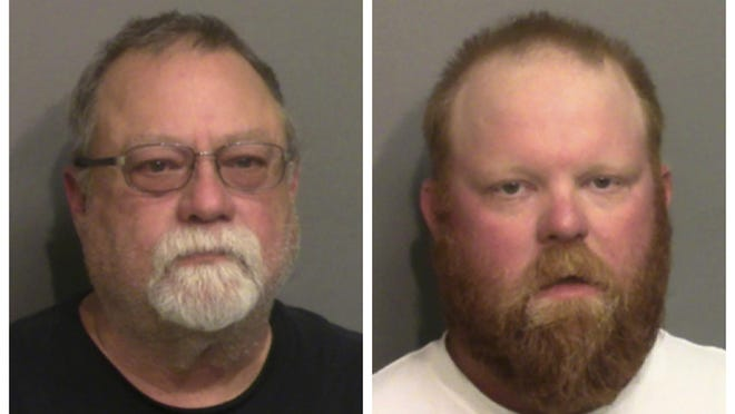 """This photo combo of images taken Thursday, May 7, 2020, and provided by the Glynn County Detention Center, in Georgia, show Gregory McMichael, left, and his son Travis McMichael. A prosecutor on Wednesday, June 24, 2020 announced that three men have been indicted on murder charges in the killing of Ahmaud Arbery in coastal Georgia. Speaking to reporters outside the Glynn County courthouse, prosecutor Joyette Holmes said a grand jury has indicted Travis McMichael, Gregory McMichael and William """"Roddie"""" Bryan Jr. on charges including malice and felony murder in the death of the African American man."""