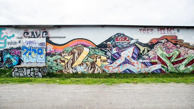 Graffiti in the River Arts District covers warehouse walls with illustrations, quotes and tags. The North Carolina General Assembly is considering making illegal graffiti a felony.