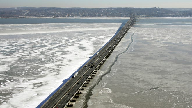 In this Feb. 2, 2005 file photo, the Tappan Zee Bridge connects New York's Westchester and Rockland counties across an icy Hudson River at South Nyack.