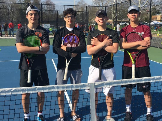 Bergen County Large-Schools first singles semifinalists (left to right): Tenafly's Alex Merson, NV/Demarest's Carlos Vasquez, Bergen Tech's Danny Kim, Ridgewood's Kobe Ellenbogen from Saturday, April 28, 2018.