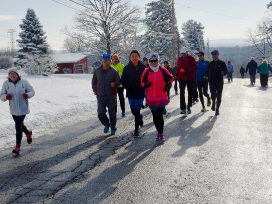 Lynne Kopac and friends run together in during her