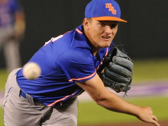 Houston Baptist reliever J.T. Newton throws a pitch