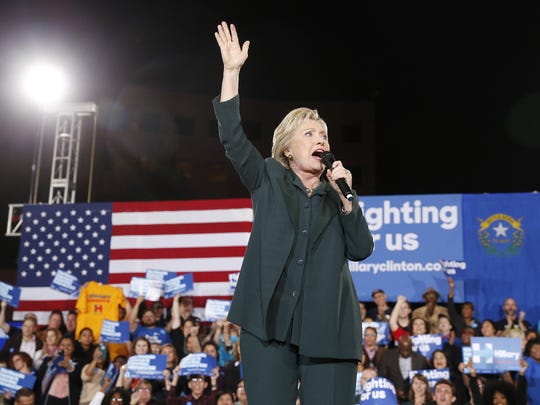 Democratic presidential candidate Hillary Clinton speaks during a Feb. 19 rally in Las Vegas.