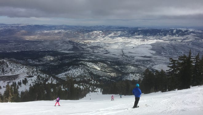 Skiers tackle an ungroomed run at Mt. Rose Ski Tahoe during the winter of 2015-16