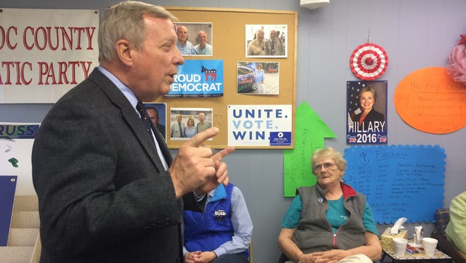Illinois Sen. Dick Durbin talks during a Democratic Party rally in Manitowoc Wednesday.