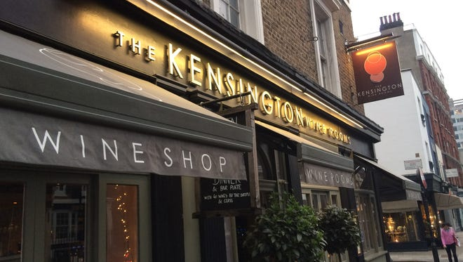 The exterior of the Kensington Wine Rooms, the wine bar where a conversation took place that ended up leading to the investigation into President Donald Trump.
