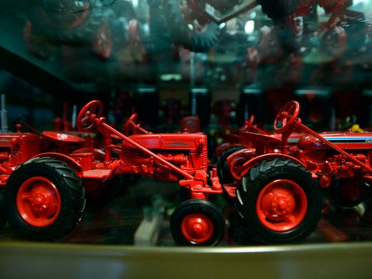 Gary Larsen's extensive collection of toy tractors.