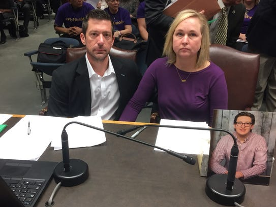 Steve and Rae Ann Gruver testified in favor of an anti-hazing bill in the House Criminal Justice Committee earlier this spring. Their late son Max was a victim of hazing at LSU. They placed a photo of Max in front of the committee.