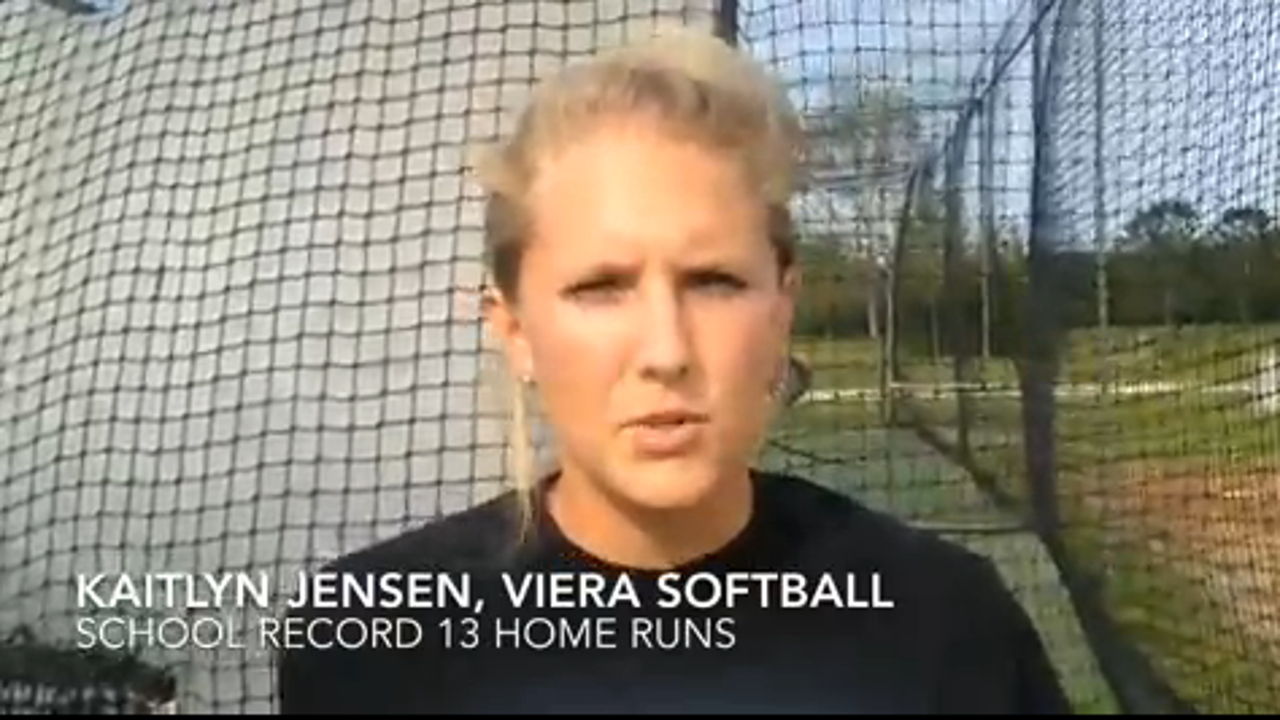 Kaitlyn Jensen and teammate Kiana East talk about why Jensen has been able to hit 13 homers this Viera High softball season. Video by Brian McCallum. Posted April 13, 2016.