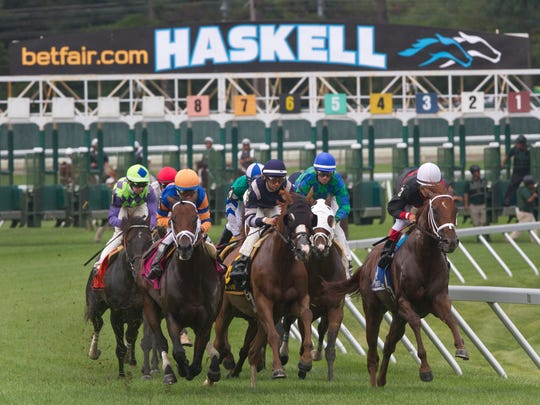 Start of the Grade III Oceanport Stakes on  Haskell Day at Monmouth Park in Oceanport.