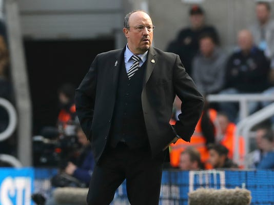 Newcastle United manager Rafael Benitez looks on during the English Premier League soccer match between Newcastle United and Arsenal at St James' Park, Newcastle, England, Sunday, April 15, 2018. (Owen Humphreys/PA via AP)
