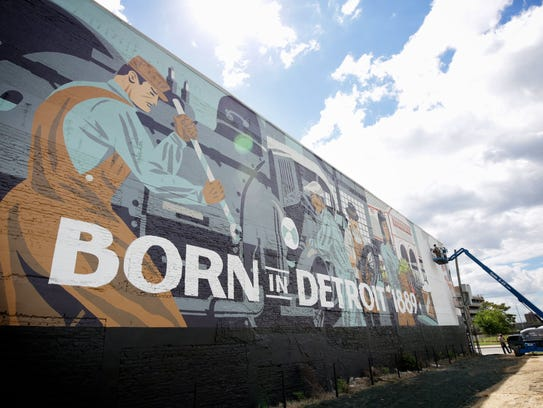 A mural on the wall of the  Carhartt store in Detroit,