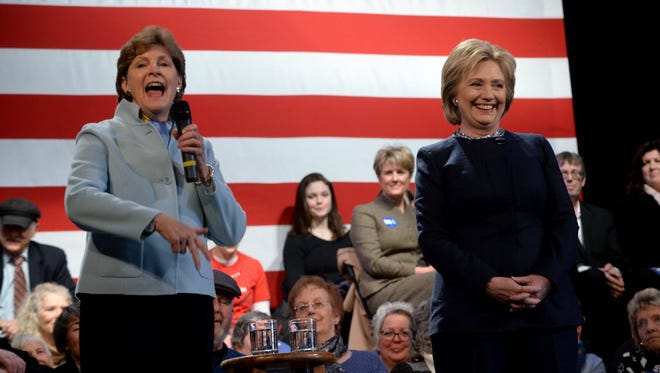 Sen. Jeanne Shaheen, D-N.H., introduces Hillary Clinton at a town hall meeting at the Rochester Opera House on Jan. 22, 2016, in Rochester, N.H.