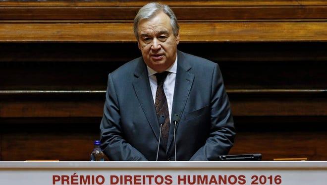 Incoming U.N. Secretary-General Antonio Guterres delivers a speech in Lisbon, Portugal, on Dec. 23, 2016.