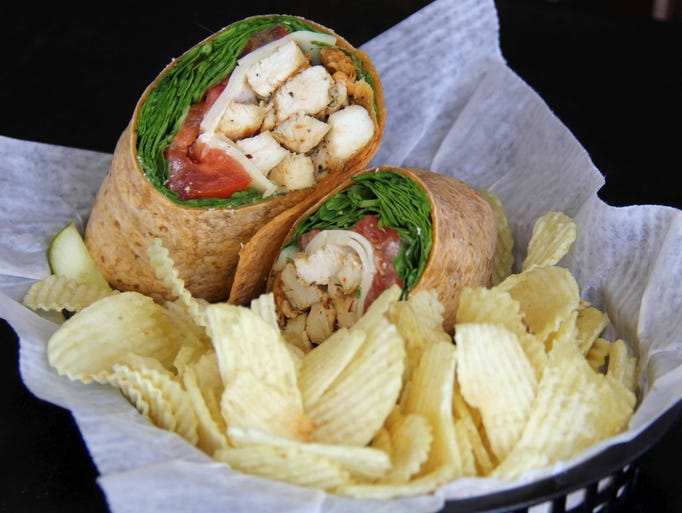 Caribbean jerk chicken wrap.