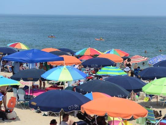 Umbrellas on Bethany Beach on July 3, 2017.