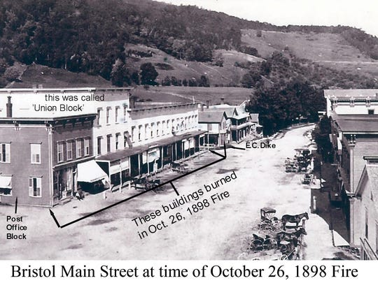 Main Street in Bristol before the Oct. 26, 1898 fire.