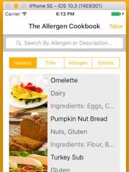 A screenshot of the proposed Allergen Cookbook, an app designed by a Centennial High School student.