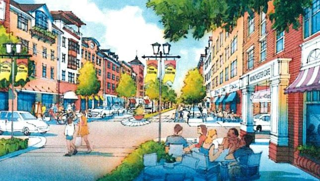 An artist rendering portrays Manchester's proposed Heritage Town Center.