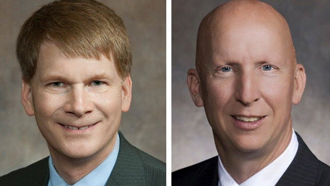 Rep. Jeremy Thiesfeldt (left) and Sen. Duey Stroebel (right) chair legislative committees that will held public hearings Thursday on a slate of bills aimed at limiting school district referendum questions.