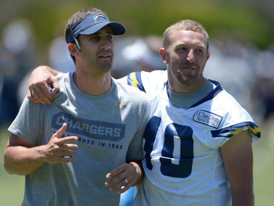 San Diego Chargers assistant coach Nick Sirianni (left).