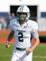 Delbarton kicker Ryan Saik celebrates after making
