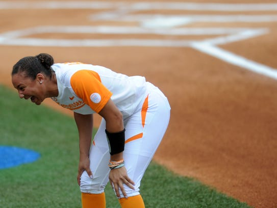 Tennessee's Brooke Vines (4) laughs on the sidelines