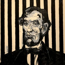 """""""Striped Lincoln,"""" 1997, oil on canvas by Hunt Slonem, part of Hunting for Slonem at the Pensacola Museum of Art."""