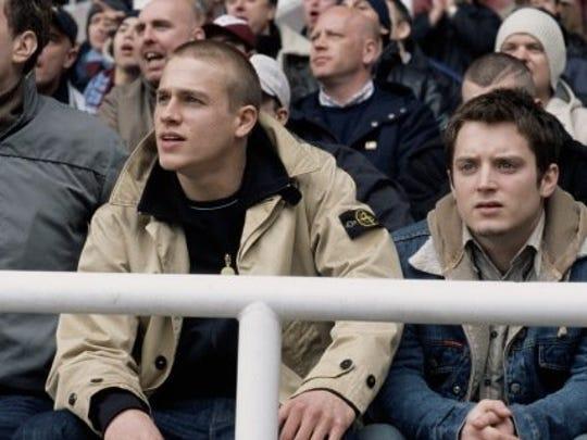 "Charlie Hunnam as Pete Dunham and Elijah Wood as Matt Buckner in a scene from ""Green Street Hooligans"" (2005)."