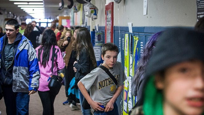 Students head home at the end of the day at Union High School, the fifth-smallest school district in the state. The school in Modoc is facing consolidation pressure.