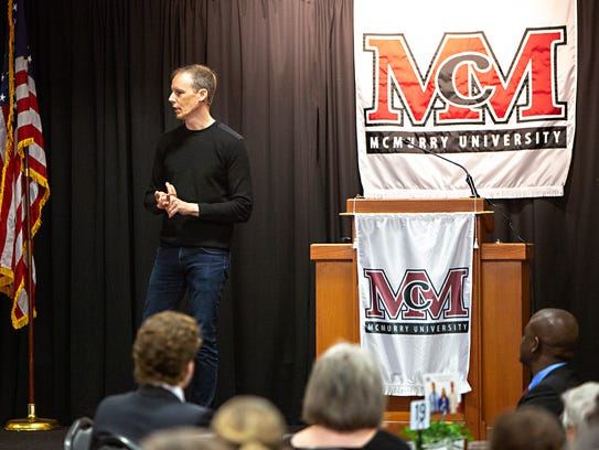 Square Inc co-founder Jim McKelvey speaks with Garrison Entrepreneur Series luncheon attendees at McMurry University on Monday. McKelvey was the first guest for what the university's business school hopes will become an annual series.