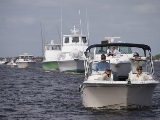 Images of the 45th Blessing of the Fleet and Marine Parade in the North Fork of the St. Lucie River in Stuart on Saturday, February 20, 2016. Approximately 120 boats were in attendance.