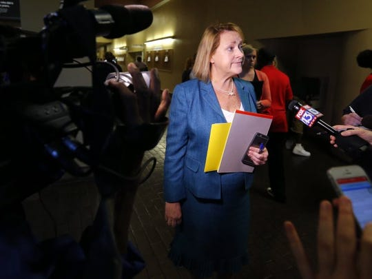 June 6, 2016 — Shelby County Deputy District Attorney Jennifer Nichols talks to reporters following the video arraignment of Justin Welch Monday morning. 'It's certainly a tragic case,' Nichols said outside the courtroom about the incident Saturday night that left Memphis police officer Verdell Smith dead and three other shot. (Mike Brown/The Commercial Appeal)