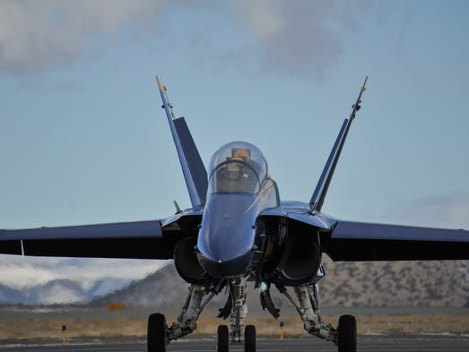 Images of a Blue Angels plane visiting Reno Stead Airport