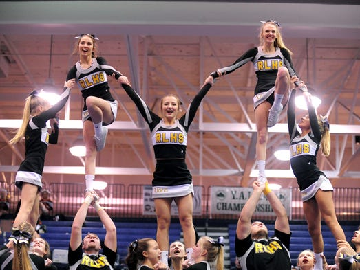 The Red Lion cheerleading team performs during the