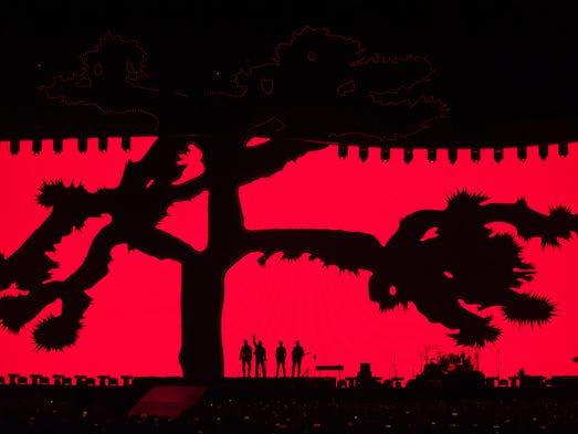 U2 performs during their Joshua Tree tour stop at Ford