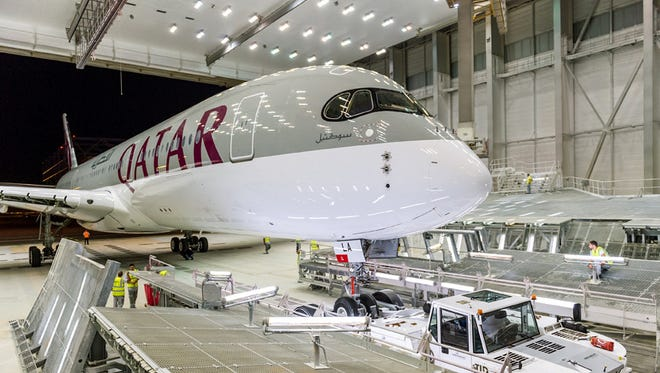 Qatar Airways' first A350 XWB is seen at the Airbus factory in Toulouse, France.