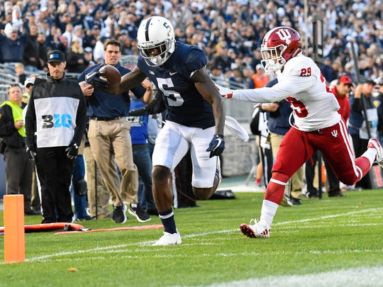 Penn State wide receiver DaeSean Hamilton (5) scores a touchdown on a pass from running back Saquon Barkley (not pictured) against Indiana.
