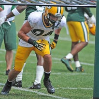 Wide receiver Jared Abbrederis (84) practices at Green Bay Packers Training Camp at Ray Nitschke Field September 1, 2015.