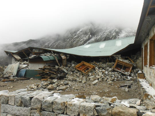 Katharine Atto of Farmington Hills, trekking with her boyfriend, Brian Whitmer of Pontiac, to Mt. Everest Base Camp, was shaken by the Nepal earthquake on April 24. This was damage in the village of Dingboche, where she was having lunch when the quake struck.