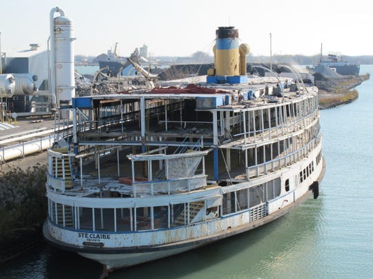 The stern of the Boblo boat Ste. Claire, as seen from the deck of her sister ship, the Columbia, on Nov. 12, 2011. Part of the Ste. Claire was disassembled as part of a years-long restoration.