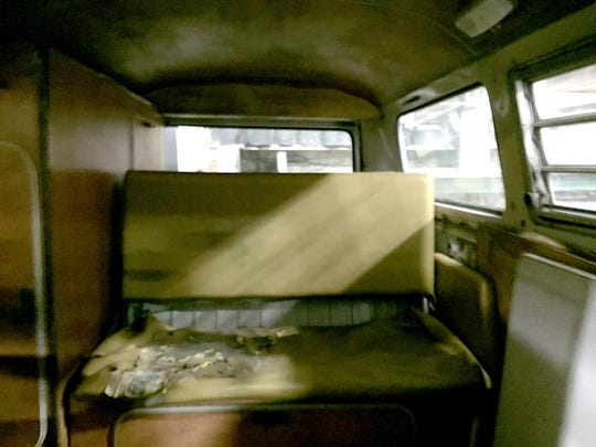 The interior of the 1968 Volkswagen van once owned by Dr. Jack Kevorkian.