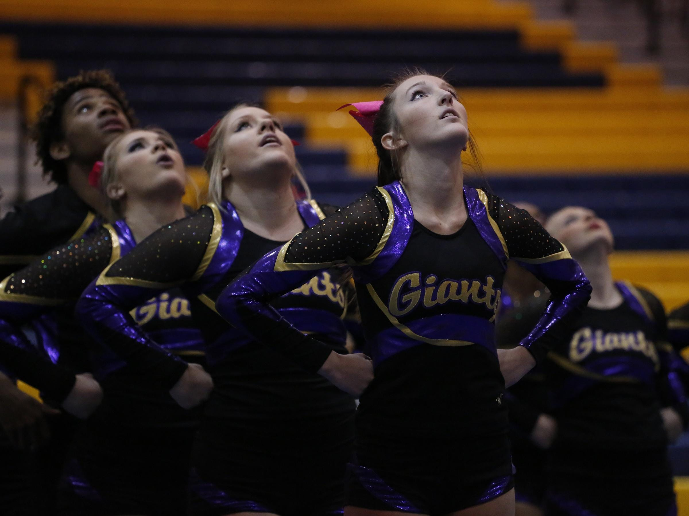 Waynesboro cheerleaders perform during the Conference 29 competition cheer championship at Fluvanna County High School on Saturday.