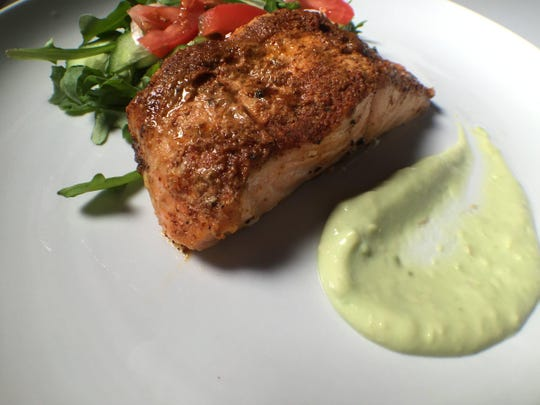 Ancho-spiced Salmon with Avocado Crema.