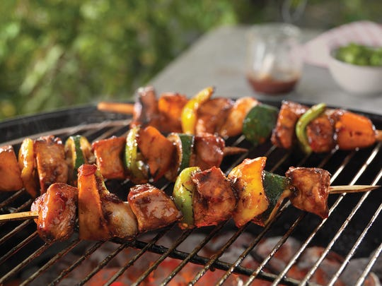 Top loin pork kabobs include red or white potatoes.